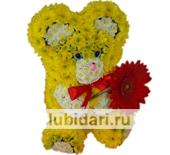 Мишка с цветочком из цветов