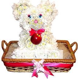 Мишка Белый Пух  из цветов