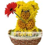 Мишка в корзинке из цветов