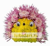 Ежик-малютка розовые иголочки из цветов