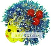 Ежик-малютка синие иголочки из цветов