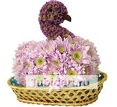 Лебедь розовое крыло из цветов