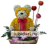 Мишка с шариками из цветов