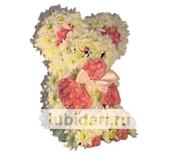Мишка снежный из цветов