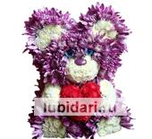 Мишка-пух с сердцем из цветов