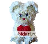 Мишка белоснежный с пылким сердцем из цветов